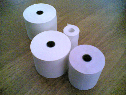 76mm x 76mm Two Ply Till Roll, White/Pink, 20 rolls